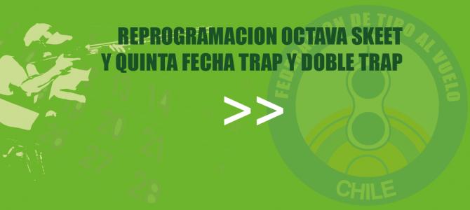 REPROGRAMACION OCTAVA SKEET Y QUINTA FECHA TRAP Y DOBLE TRAP